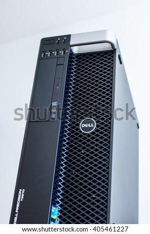 LONDON, UNITED KINGDOM - JUNE 30, 2014: Dell Computers powerful workstation, as seen on june 30, 2014 against white background. Dell workstations machines come configured as tower and other forms
