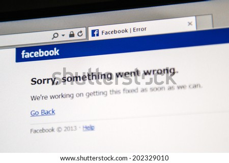 "LONDON, UNITED KINGDOM - JUNE 19, 2014: Facebook social network webpage showing ""Sorry, something went wrong"" as worldwide crash happened to millions of users on Thursday June 19 2014 in the morning. - stock photo"