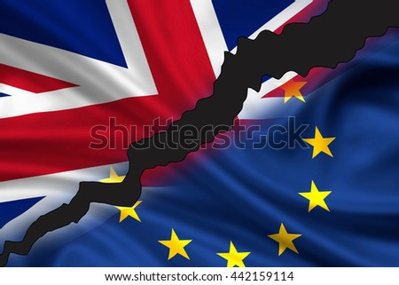 London, United Kingdom - June 24, 2016: Tattered / divided flag of Great Britain (Union Jack) and Europe symbolizing the exit of UK from Europe (Brexit).  - stock photo