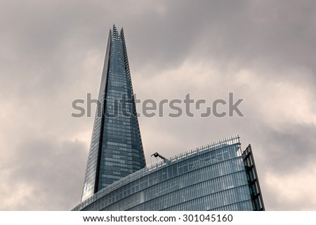 LONDON, UNITED KINGDOM - JUNE 22, 2015: The Shard building. Built in 2012 and standing 306 meters tall, the Shard is currently the tallest building in the European Union and a new London attraction.
