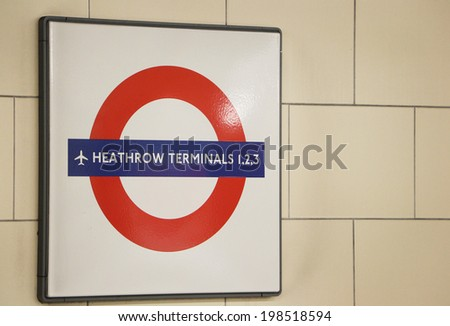 LONDON, UNITED KINGDOM - JUNE 4: Underground sign June 4, 2013 in London, United Kingdome - stock photo