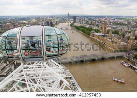 London, United Kingdom - June 8, 2015: View of London cityscape from the top of the London Eye