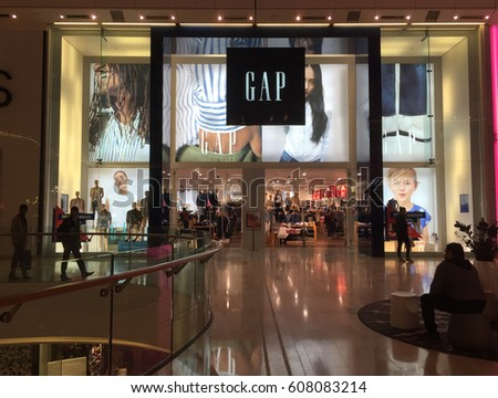 LONDON, UNITED KINGDOM - MARCH 20, 2017:  Entrance of a GAP store in a London mall. GAP is an American worldwide clothing and accessories retailer.