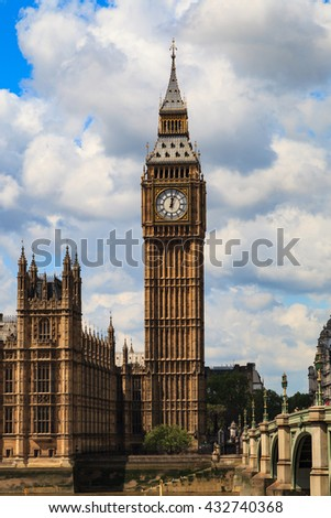 LONDON, UNITED KINGDOM - 23 MAY 2016: Big Ben and house of parliament on Sunny Day, London, UK