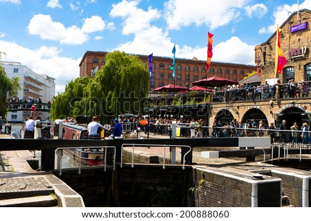 LONDON, UNITED KINGDOM - MAY 25, 2014: Camden Lock, or Hampstead Road Locks is a twin manually operated lock on the Regent's Canal in Camden Town, London Borough of Camden inmay25, 2014 - stock photo