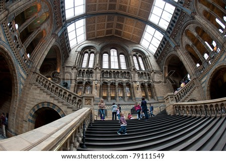 LONDON, UNITED KINGDOM - MAY 31: Interior view of Natural History Museum on May 31, 2011 in London, UK. The museum's collections comprise almost 70 million specimens from all parts of the world. - stock photo