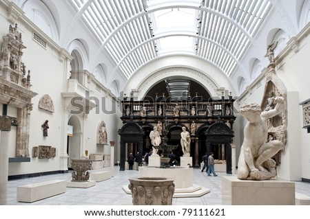 LONDON, UNITED KINGDOM - MAY 31: Interior view of Victoria and Albert Museum on May 31, 2011 in London, UK. V&A Museum is the world's largest museum of decorative arts and design.