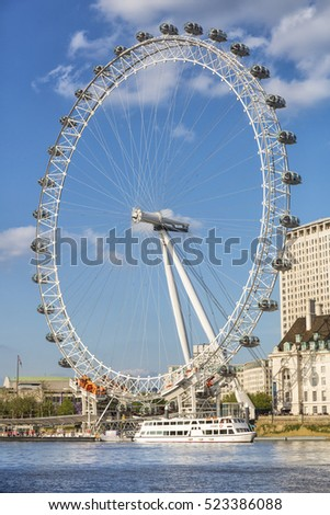 London, United Kingdom - May 16, 2016; London Eye in London, United Kingdom