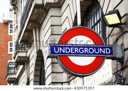 London, United Kingdom - May 25, 2016: the logo of London subway with the background of a building.