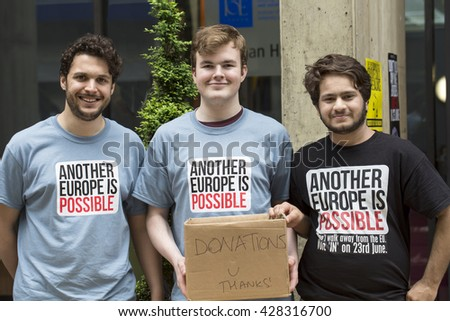 London, United Kingdom - May 28, 2016: Three Volunteers. At a rally in London to discuss the issues of the European referendum, three volunteers work hard collecting donations for the in campaign.