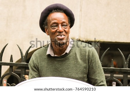 London, United Kingdom, May 2016 - Traditional man living in poverty