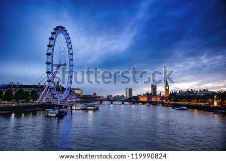 LONDON, UNITED KINGDOM - NOV. 11: London Eye on November 11, 2012 in London, United Kingdom is the tallest Ferris wheel in Europe at 135 meters - stock photo