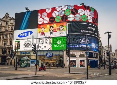 LONDON, UNITED KINGDOM - NOV 9 2015: One of the most famous tourist destination, Piccadilly Circus, in London. The big advertising screen have become a major attraction of London.