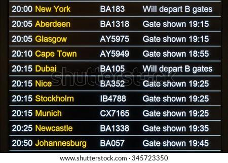 LONDON, UNITED KINGDOM - NOVEMBER 5, 2014: Heathrow International Airport Departures Board. - stock photo