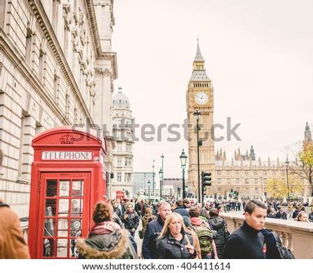 LONDON, UNITED KINGDOM 8 NOVEMBER 2015: Traditional Red Telephone Box and Big Ben in London, UK