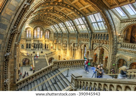 LONDON, UNITED KINGDOM - OCT 04 2015: Interior view of Natural History Museum on october 04, 2015 in London, UK.