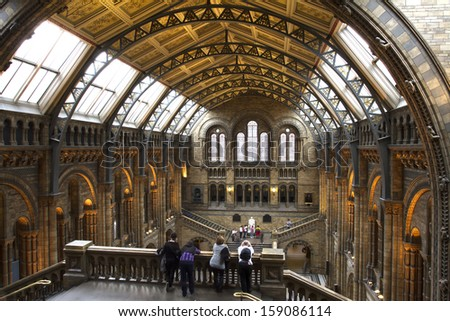 LONDON, UNITED KINGDOM - OCT 09: Interior view of Natural History Museum on october 09, 2013 in London, UK. The museum's collections comprise almost 70 million specimens from all parts of the world. - stock photo