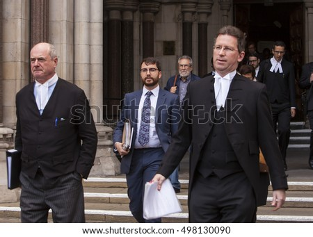 London, United KIngdom - October 13, 2016: Article 50 Court Case. Jeremy Wright (right) is in charge of the governments case against the stopping of Article 50 being triggered by the government.