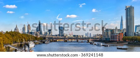 London, United Kingdom - October 20, 2015: Panoramic view from Waterloo bridge to river Thames and City of London with copy space in sky