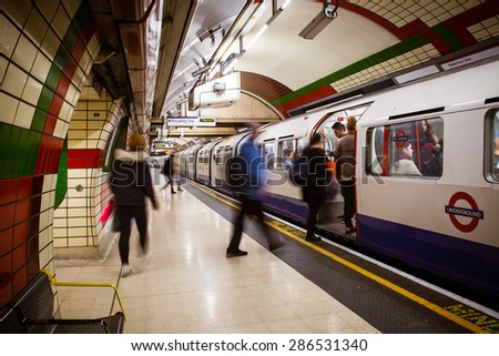 LONDON, UNITED KINGDOM - OCTOBER 8, 2014:  View of subway platform in the London Underground at the Bakerloo Line - stock photo