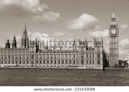 London, United Kingdom - Palace of Westminster (Houses of Parliament) with Big Ben clock tower. UNESCO World Heritage Site. Sepia tone - filtered retro style monochrome photo.