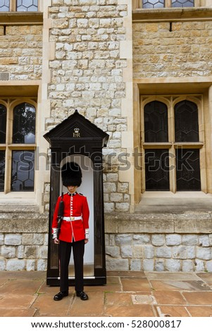 London, United Kingdom - September 13, 2011: A young Irish Guard at the Tower of London, a historic castle located on the north bank of the River Thames in central London, England.