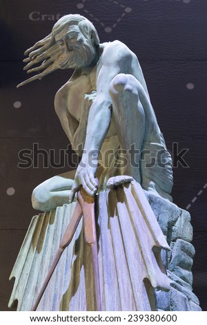 London, United Kingdom September 5, 2013: One of 4 statues greeting visitors to the Science Museum at a temporary entrance, while the main entrance is being refurbished. - stock photo