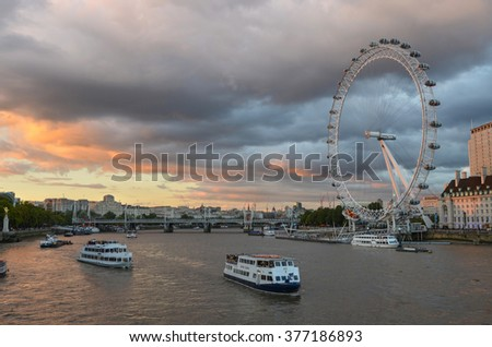 London, United Kingdom - September 12, 2015 : The London Eye is a giant wheel on the River Thames in London, also known as the Millennium Wheel, which opened to the public on 1 February 2013