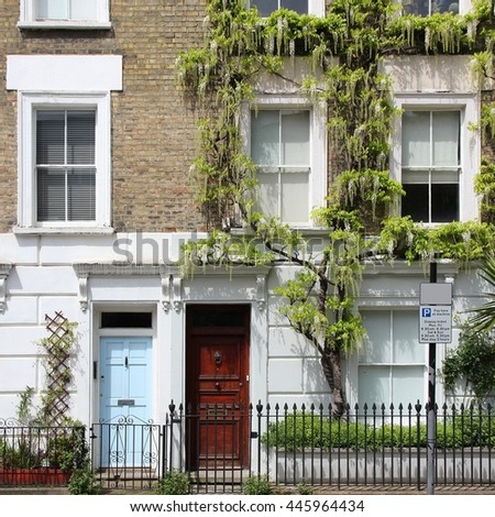 London, United Kingdom - typical houses in Camden Town district. - stock photo