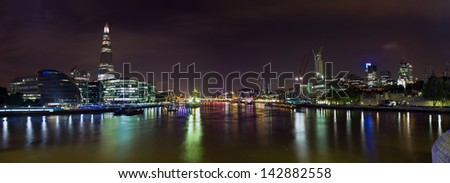 London upon the River Thames. The night panoramic view