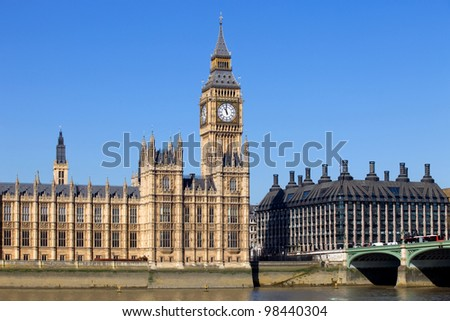 London view, Big Ben, Parliament, bridge and river Thames
