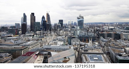 London view from St. Paul cathedral - stock photo