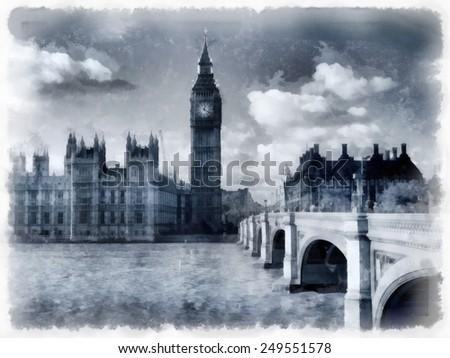 London watercolor illustration - stock photo