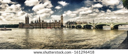 London. Westminster area panoramic view