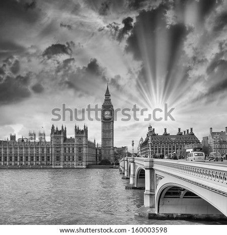London. Westminster Bridge and Houses of Parliament on a beautiful evening. - stock photo