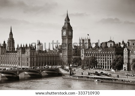 London Westminster with Big Ben and bridge. - stock photo