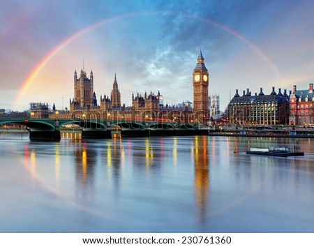 London with rainbow - Houses of parliament - Big ben. - stock photo