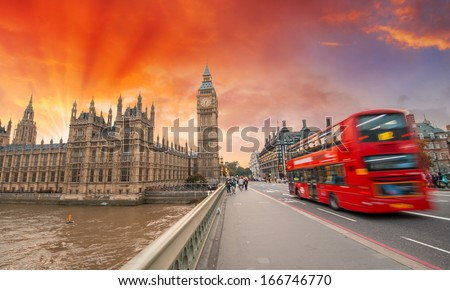 London. Wonderful sunset colors over city landmarks. - stock photo