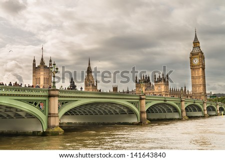 London. Wonderful view of Westminster bridge with Big Ben and Houses of Parliament. - stock photo