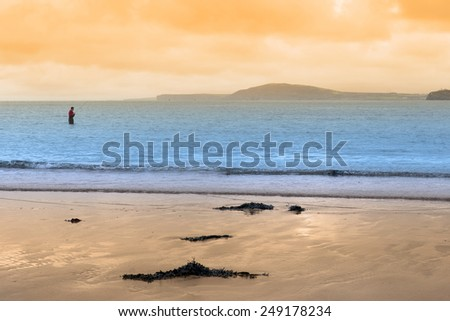 lone fisherman wading in the river Shannon county Kerry Ireland - stock photo