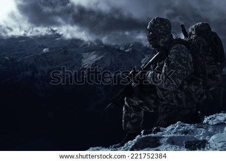 Lone ranger by Nightfall - stock photo