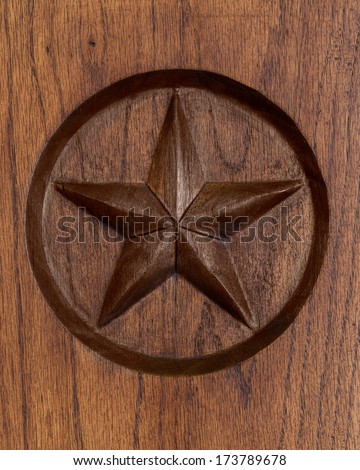 Lone Star engraved in wood - stock photo
