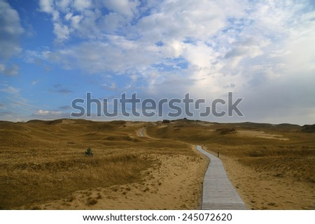 Loneliness and solitude concept - Deserted landscape with gone distance footpath among yellow sand dunes under cloudy blue sky - stock photo