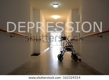 Loneliness in a retirement home - stock photo