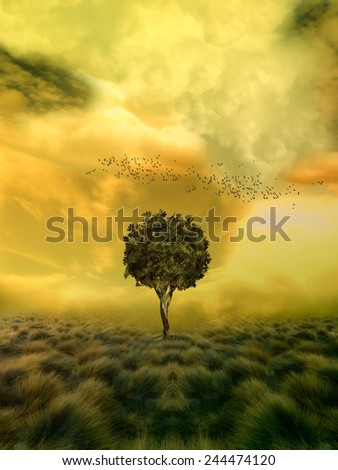 loneliness tree in a fantasy field - stock photo