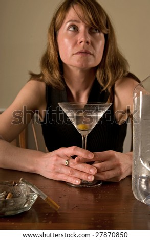lonely alcoholic woman, drinking and smoking