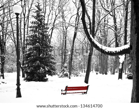 lonely bench in the winter park - stock photo