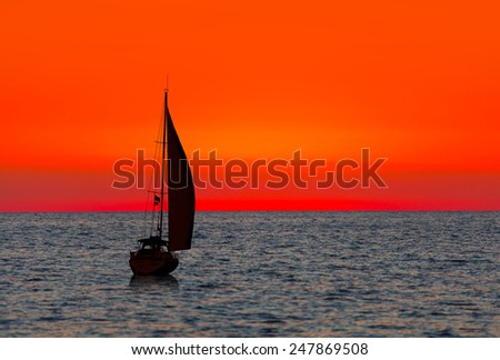 lonely boat and sunset