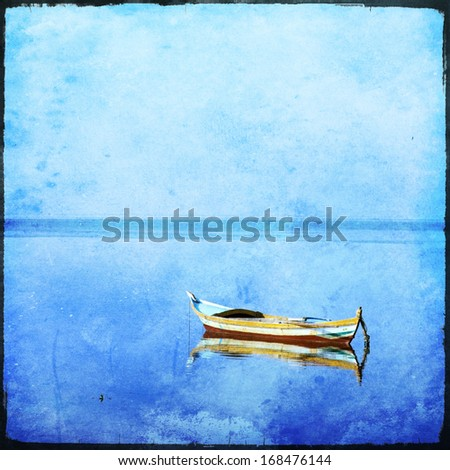 lonely boat with grunge texture  - stock photo