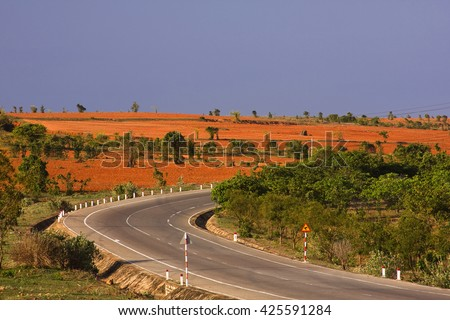 Lonely coastal road, Highway at Phan Thiet,Mui Ne, Ninh Thuan province, Vietnam, Asia